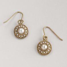 Pearl and Gold Drop Earrings | World Market