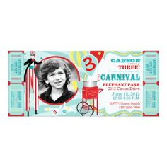 Candy Birthday Party Invitations Carnival Circus Stilt Walker Birthday Card