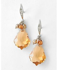 423763 Rhodiumized / Lt.colorado Topaz Swarovski Crystal & Clear Rhinestone / Lead Compliant / Dangle / Fish Hook Earring Se