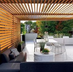 Amazing Modern Pergola Patio Ideas for Minimalist House. Many good homes of classical, modern, and minimalist designs add a modern pergola patio or canopy to beautify the home. Outdoor Rooms, Outdoor Living, Outdoor Decor, Canopy Outdoor, Pergola Canopy, Pergola Cover, Outdoor Sheds, Outdoor Furniture, Outdoor Lounge
