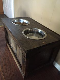 Elevated Dog Food Stand w/ storage by TheRusticMitten on Etsy