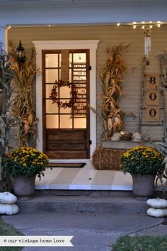 our vintage home love: Fall Porch Ideas.love these stripes on the porch floor. Autumn Decorating, Porch Decorating, Decorating Ideas, Decor Ideas, Fall Home Decor, Autumn Home, Outdoor Living, Indoor Outdoor, Outdoor Decor