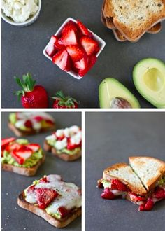 strawberry avocado goat cheese sandwich. I am intrigued....