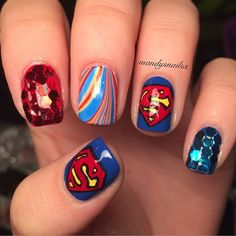 """Beauty Blog — Amanda on Instagram: """"Here are some Superman nails..."""