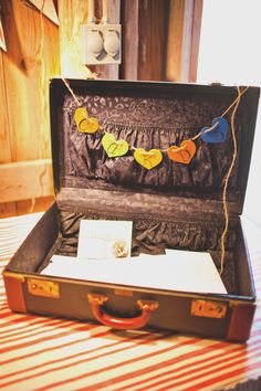 Rustic Autumn Wedding, you can buy an old suitcase and use it for wedding cards!!! or even like party game/advice cards to see what people say kind of thing!!