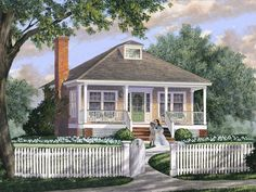 063H-0232: Small Southern House Plan with Covered Front Porch Southern Cottage, Southern House Plans, Cottage House Plans, Small House Plans, Architectural Design House Plans, Architectural Features, Porch Plans, Bed Plans, Floor Plans