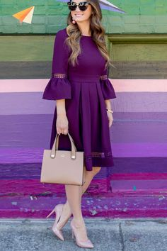 Jennifer Lake Style Charade in an Eliza J burgundy bell sleeve fit and flare dress, Kate Spade Stewart Street Little Joy and Steve Madden Daisie pumps Stylish Dresses For Girls, Stylish Dress Designs, Simple Dresses, Casual Dresses, Fashion Dresses, Purple Fashion, Look Fashion, Fashion Tips, Purple Dress Outfits