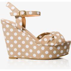 FOREVER 21 Polka Dot Wedge Sandals ($30) ❤ liked on Polyvore