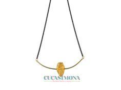 Colgante lasca con citrino. #CucaSimona #Handmadejewellery #Brass