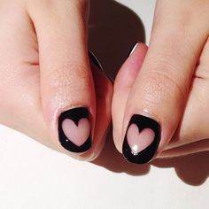 Negative Space Nail Art Tutorials - How to Do a Negative Space Manicure Shellac Nails, Nail Manicure, Glitter Nails, My Nails, Funky Nails, Mani Pedi, Nail Polish, Negative Space Nails, Heart Nails