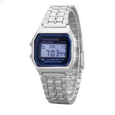 Ženy Muži Luxusní digitální hodinky Módní neformální ženy Nerezové ocelové  stopky Muži Sportovní náramkové hodinky Relogio 186586cd515