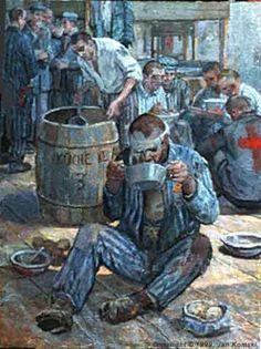 Jan Komski (Polish: 1915– 2002) - Eating and Starvation - Polish artist Jan Komski is a survivor of Auschwitz