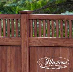 Craftsman Style Rosewood Wood Grain PVC Vinyl Tongue and Groove Fencing Panels With Framed Classic Victorian Topper by Illusions Vinyl Fence. Vinyl Fence Panels, Vinyl Privacy Fence, Privacy Fence Designs, Diy Fence, Backyard Fences, Fence Gate, Fence Ideas, Fencing, Pool Fence
