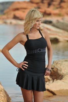 Ruched Tankini with Sash Black Circles (XXS ONLY) - FINAL SALE