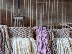 DIY Weaving - how to make a mini loom, various weaving techniques, tassles, etc. to make a wall hanging.