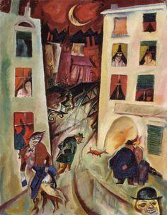 George Grosz, La rue, 1915, huile sur toile, 45,5 x 35,5cm, Stuttgart, Staatsgalerie. Pour une superbe analyse de ce tableau par Catherine Wermester: http://www.editions-allia.com/files/pdf_274_file.pdf(p. 7-9)