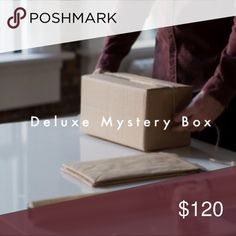 Mystery Box Clear Out!! NWT!! Our Deluxe box contains more items and more higher priced brands! 10 items for 120! Great way to build out your wardrobe or build inventory for your shop! Great items and valued way more than sell price! Feel free to specify what size group Small/Med/ Large!! Other