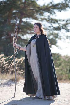 Long Black Cloak. I'd make it a bit shorter not to drag on the ground