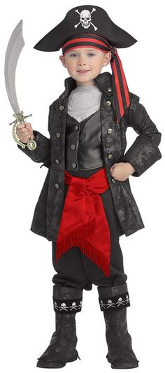 Captain Black Children's Pirate Costume includes jacket with attached vest, pants with attached boot tops, hat and red waist sash. Sword sold separately.