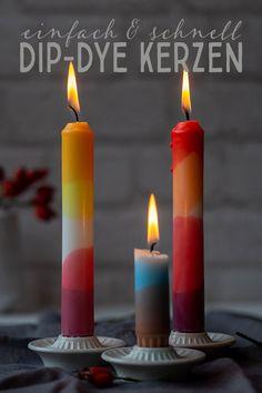 Upcycling DIY: Kunterbunte Dip-Dye-Kerzen Pillar Candles, Diy Gifts, Xmas, Dip, Crafty, Hygge, Fall, White Candles, Knowledge