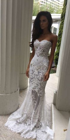 Charming White Lace Wedding Dress,S..
