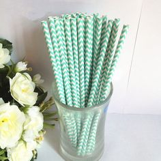 Paper Straws 50 Aqua Chevron Paper White by PartySupplier4U, $7.95