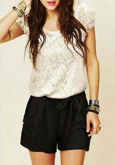 Super Cute Black and White Color Block Belt Short Lace Jumpsuit Pant #Black_and_White #Lace #Spring #Summer #Fashion