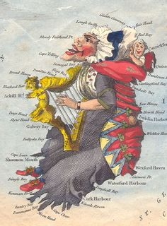 A map of Ireland as Lady Hibernia from 1795 by Robert Dighton, a well-known eighteenth century painter of portraits and caricatures.