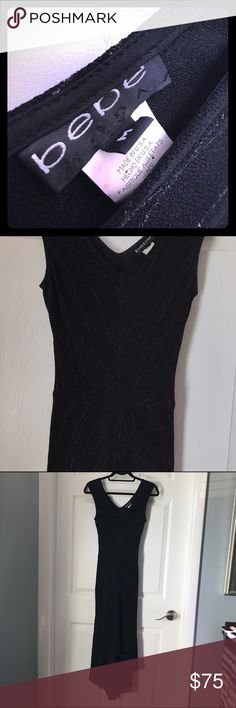 Formal black sparkly dress from Bebe This is a size medium ( fits size big 6-8- small 10) Bebe beautiful dress with a pattern of subtle sparkles throughout. High low but a longer style dress. Could wear to a wedding or fancy restaurant. Elegant. Bebe Dresses Midi