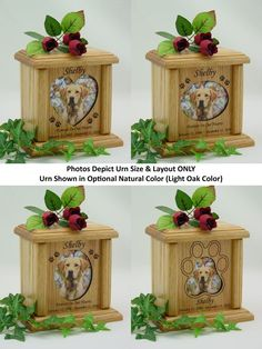 The Heart, Oval & Pawprint Photo Pet Urns are solid red oak wood pet cremation urns in Natural Color (Light Oak) or the Chestnut Color (Dark Oak Color) for dogs and cats. They have an engraved oak photo frame and a glass photo protector.   eBay!