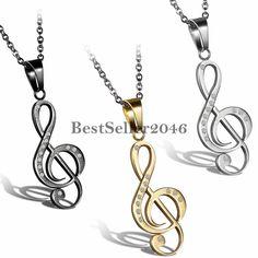 Edelstahl Anhänger Halskette Strass Musik Note Notenschlüssel Elegant Damen