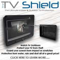 Affordable weatherproof outdoor TV enclosures The TV Shield is the leading outdoor & indoor TV enclosure for any flat screen television 19 to 86 inch (US Patent Shop Now! Outdoor Rooms, Outdoor Living, Indoor Outdoor, Outdoor Patios, Outdoor Kitchens, Tv Shield, Hanging Tv On Wall, Outdoor Tv Covers, Outdoor Tv Stand