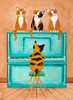 Piano Playing Cat Original Cat Folk Art Painting by KilkennycatArt on Etsy