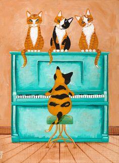Piano Playing Cat Original Cat Folk Art Painting by KilkennycatArt on Etsy
