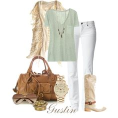 frye boots and vest, created by gustinz.polyvore.com. Great look for Spring!