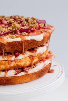Rhubarb, salted caramel and pistachio cake - brown butter and yoghurt cake, roast rhubarb, salted caramel buttercream and pistachio crumble topping. Salted Caramel Cake, Rhubarb And Custard, Rhubarb Rhubarb, Pistachio Cake, Raspberry Cake, Strawberry, Yogurt Cake, Rhubarb Recipes, Candy