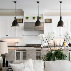 white cabinets - transitional contemporary - long island with the pretty chairs - Restoration Hardware Dining Set Design Ideas, Pictures, Remodel, and Decor - page 155