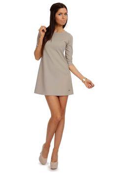 Tunika w kształcie trapezu Size Chart, Cold Shoulder Dress, Dresses For Work, Shirt Dress, Grey, Shirts, Fashion, Business Professional Dress, Vestidos