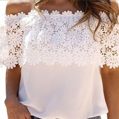 Crochet floral top semi sheer Off shoulder top. Floral lace deco. US s (Asian m) Rayon-2-. The size on the top is Asian M, indicating US S. Off shoulder top. Floral lace deco. US M( Asian L) Rayon-1-. The size on the top is Asian L, indicating US M Tops Tees - Short Sleeve
