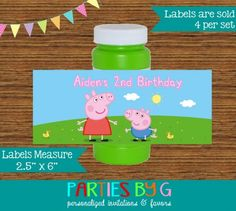 Peppa Pig Bubble Labels Birthday Party Favors Personalized
