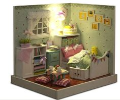 A corner of LED Light dollhouse room miniatures the wonderful wzard of oz with cover(fresh home) on AliExpress.com. $30.00