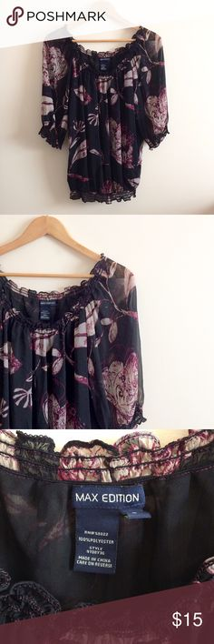 Max Edition Flirty Black Floral Peasant Blouse Top Max Edition Flirty Black Floral Peasant Top Blouse. WOMEN'S SIZE SMALL (flowy & stretchy, elastic waistband, so will fit like a medium too). EXCELLENT USED CONDITION (no damage). 💖PRICE IS NEGOTIABLE (OFFER BUTTON)💖 Max Edition Tops Blouses