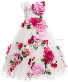 Stunning dark pink dress by Lesy Luxury Flower in a longer length style and made from layers of soft tulle. The top layer of the dress is made from a pleated tulle, giving it added movement and is decorated with pink, purple and red flowers.