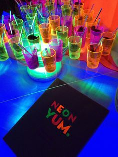 Neon Party for The Knot  Ces & Judy's - Plum BBQ Shrimp Shooters from Ces & Judy's Catering in St. Louis
