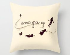 Peter Pan Never Grow Up Cushion Throw Pillow Various Sizes