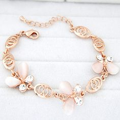 Rave Pink Diamond Decorated Butterfly Design Alloy Korean Fashion Bracelet :Asujewelry.com