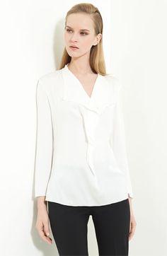 Classic White Shirt--Armani Collezioni Stretch Silk Blouse | Nordstrom