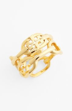 Obsessed with this Tory Burch stacked ring.