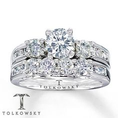 Tolkowsky Bridal Set 1 7/8 Carat tw Diamonds 14K White Gold This is the complete set to my ring! It is so beautiful, he did a great job