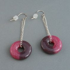 Pink/Plum EarSavers  Fused Glass Earrings by PattyMelts